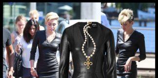 Miley Cyrus Jitrois tight black leather dress Sergio Rossi black white pumps Cartier juste un clou nail bracelet chanel necklace chanel earrings Oscar de la Renta black leather clutch