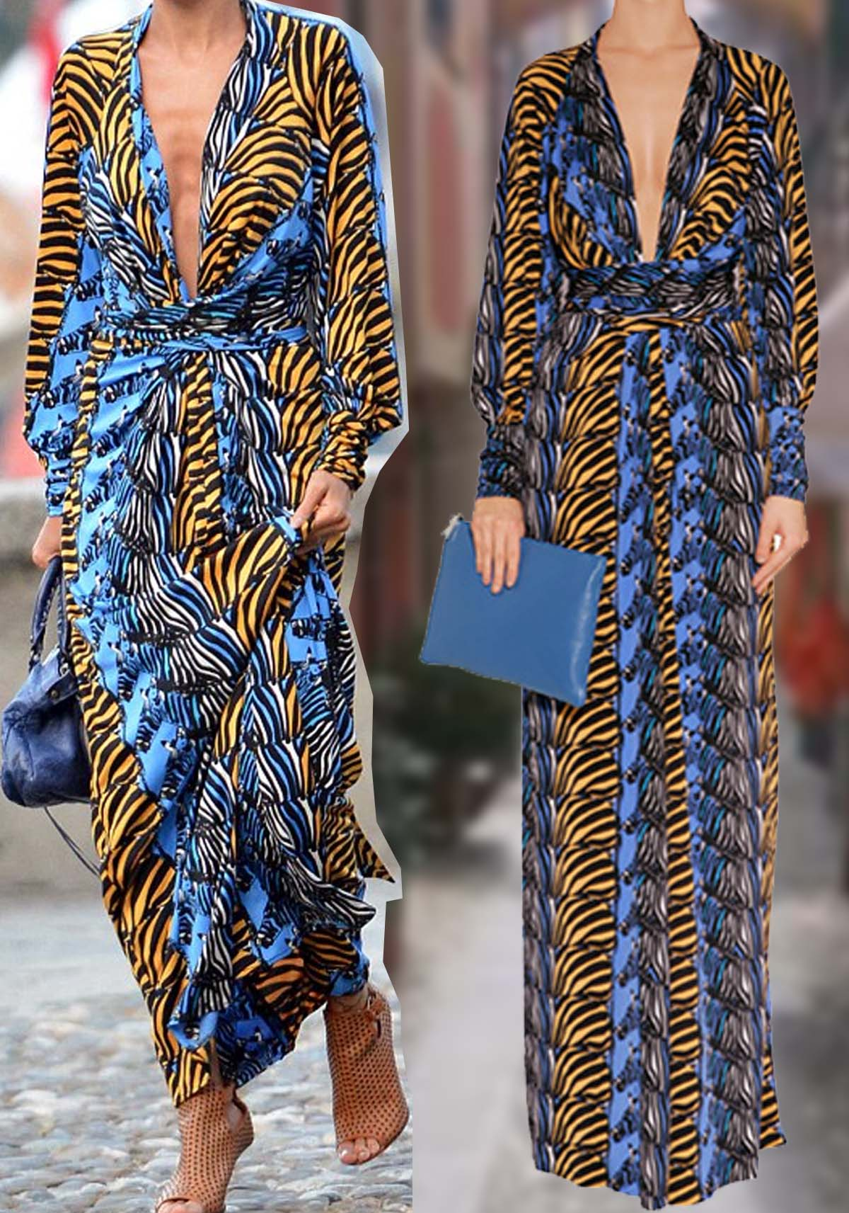 Nicole Richie wearing Issa London denim zebra print maxi silk dress