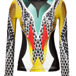 Peter Pilotto Black white jade red mustard-multi jersey Lana long sleeve top