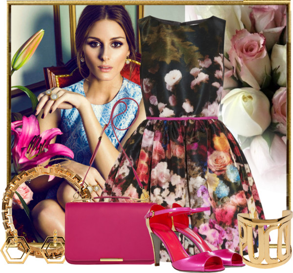 RED Valentino Floral-print taffeta dress Sergio Rossi patent pink gold metallic sandals Emilio Pucci fuchsia satchel Eddie Borgo gold necklace gold earrings gold bracelet