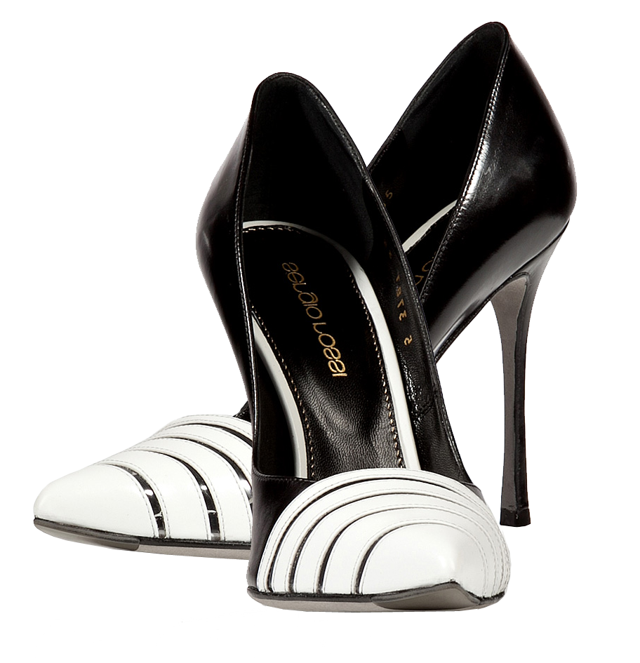 Sergio Rossi black white Leather Cutout Toe Stilettos
