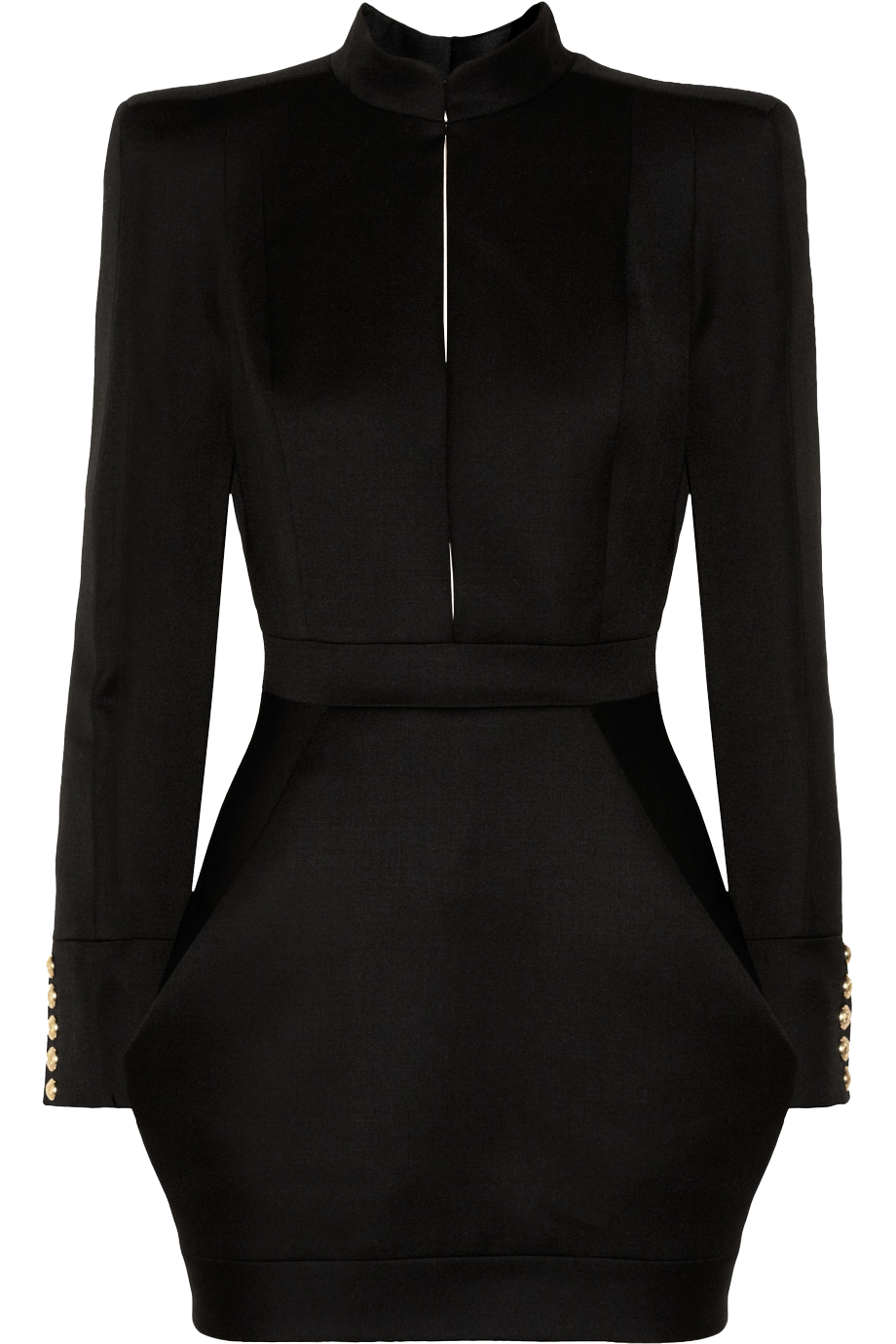 Balmain black Wool-twill mini dress