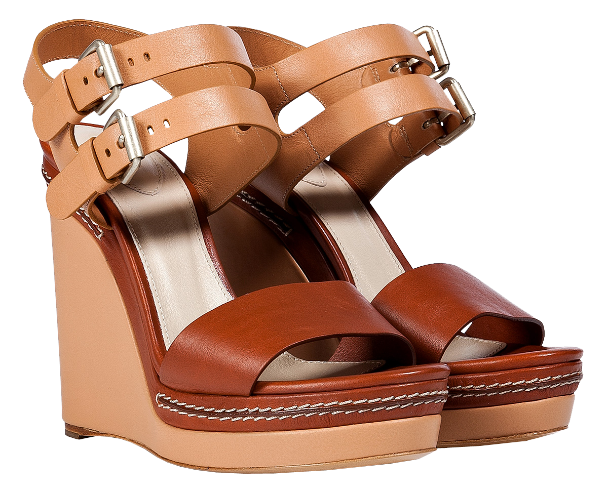 Chloe Nude Chestnut Leather Wedge Sandals
