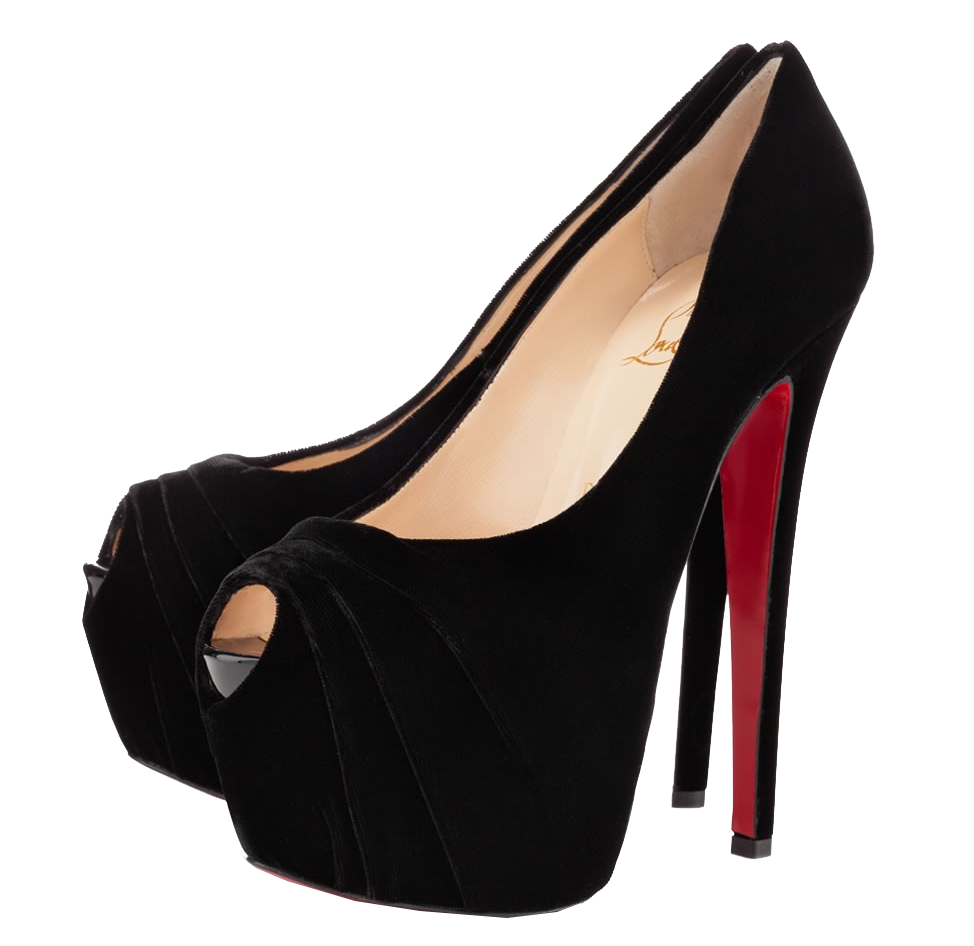 Christian Louboutin black drapesse peep toe pumps
