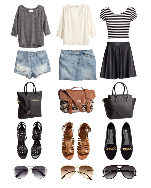 H M gray jersey top blue denim shorts black white striped top black skirt brown sandals black sandals black flats tote bag blue denim mini skirt