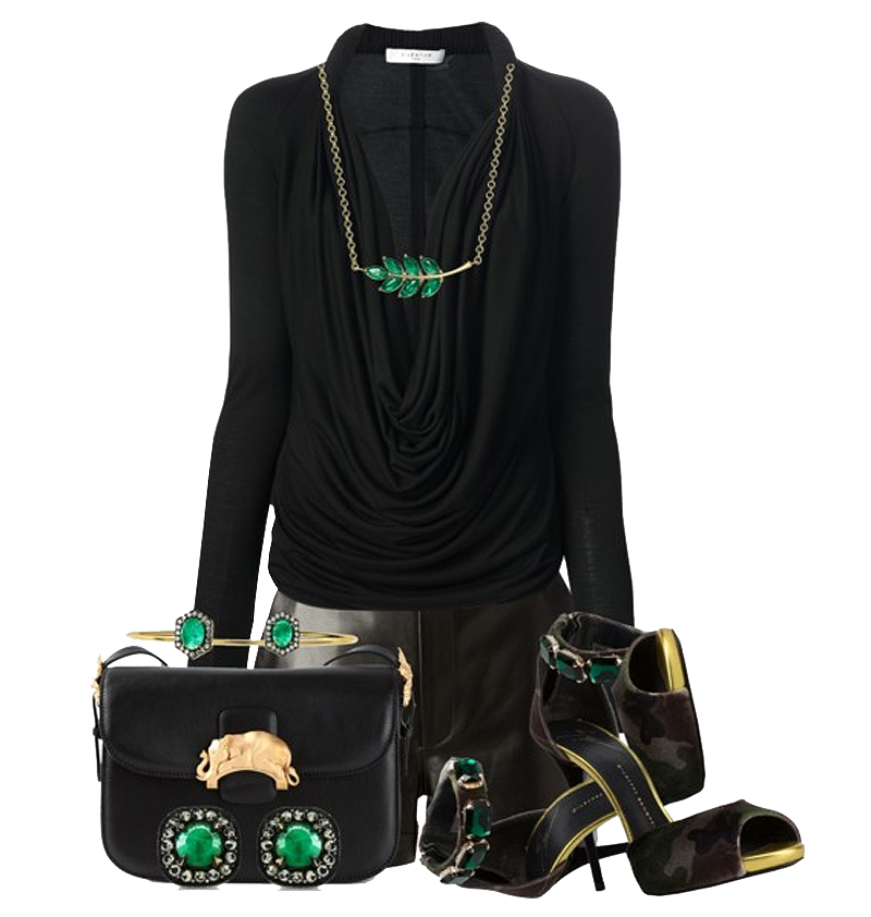 Outfit with Green velvet Coline sandals from Giuseppe Zanotti Design