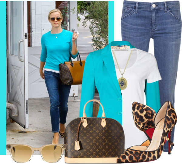 Passport basic white t-shirt Etro Turquoise Cotton Stretch Blazer The Row skinny leg jeans Louis Vuitton monogrammed bag 1928 antique necklace Oliver Peoples sunglasses