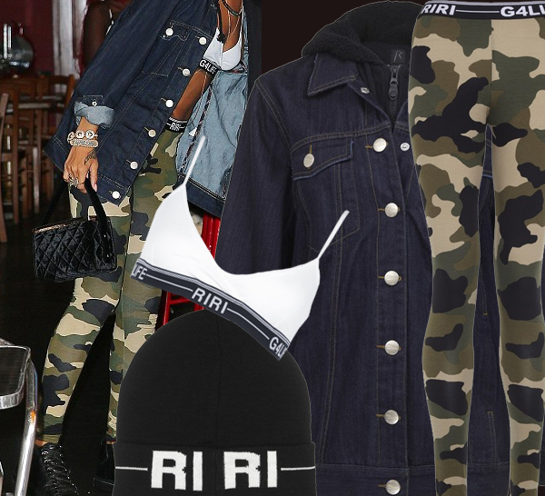 Rihanna wearing Rihanna for River Island Autumn Collection camouflage leggings denim jacket black beanie white bra chanel vintage quilted camera box bag chanel sunglasses white rim