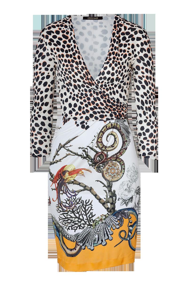 Roberto Cavalli Beige Papaya Snake Leopard Print Dress