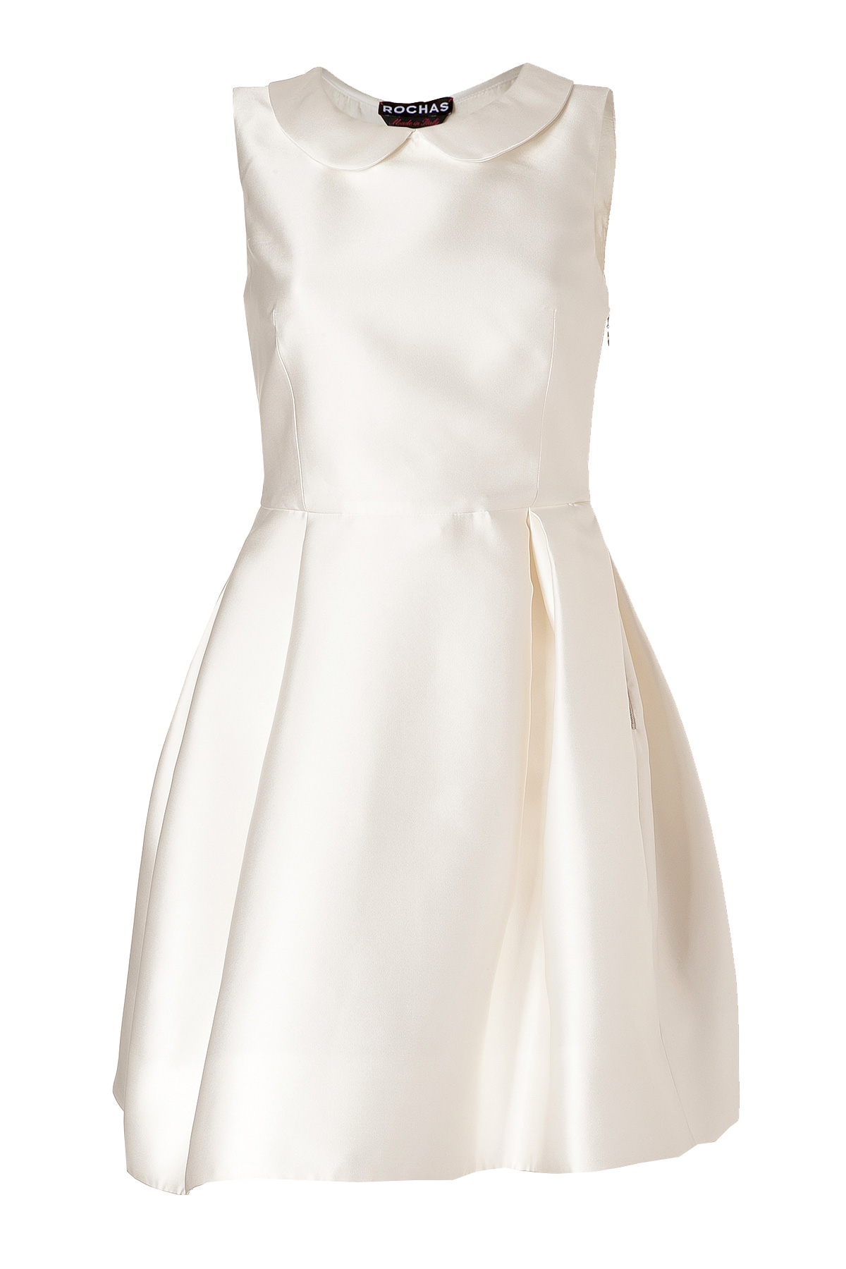 Rochas Ivory Round Collar Satin Dress