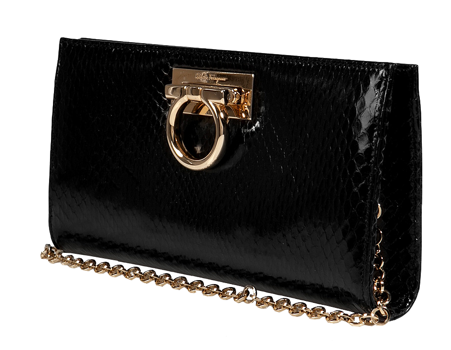 Salvatore Ferragamo jet black python clutch