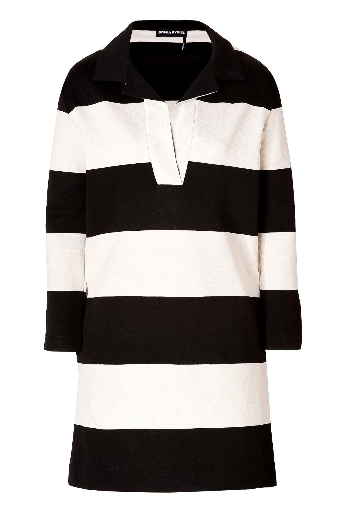 Sonia Rykiel stripe Knit Dress Black Off-White