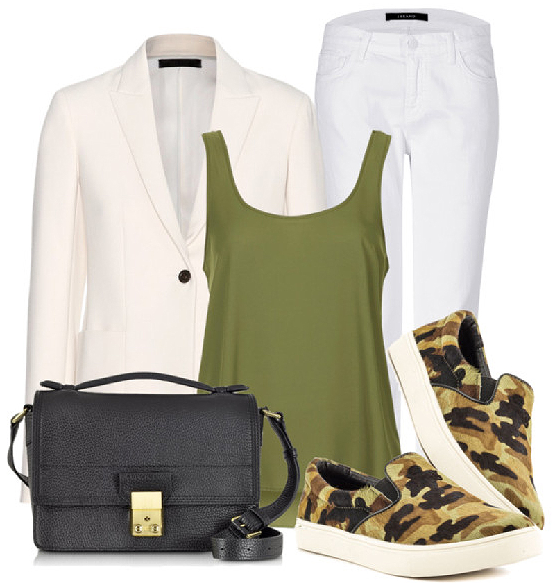 Steve Madden Womens Ecentric Camoflage canvas sneakers white boyfriend jeans white jacket black leather tote bag tank top