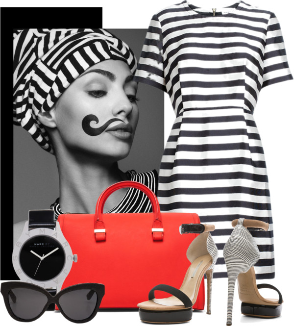 Stina Stripe Dress Nicholas Kirkwood black stripe beige stacked heel Victoria Beckham red tote bag marc by marc jacobs watch Linda Farrow Luxe 38 Black sunglasses