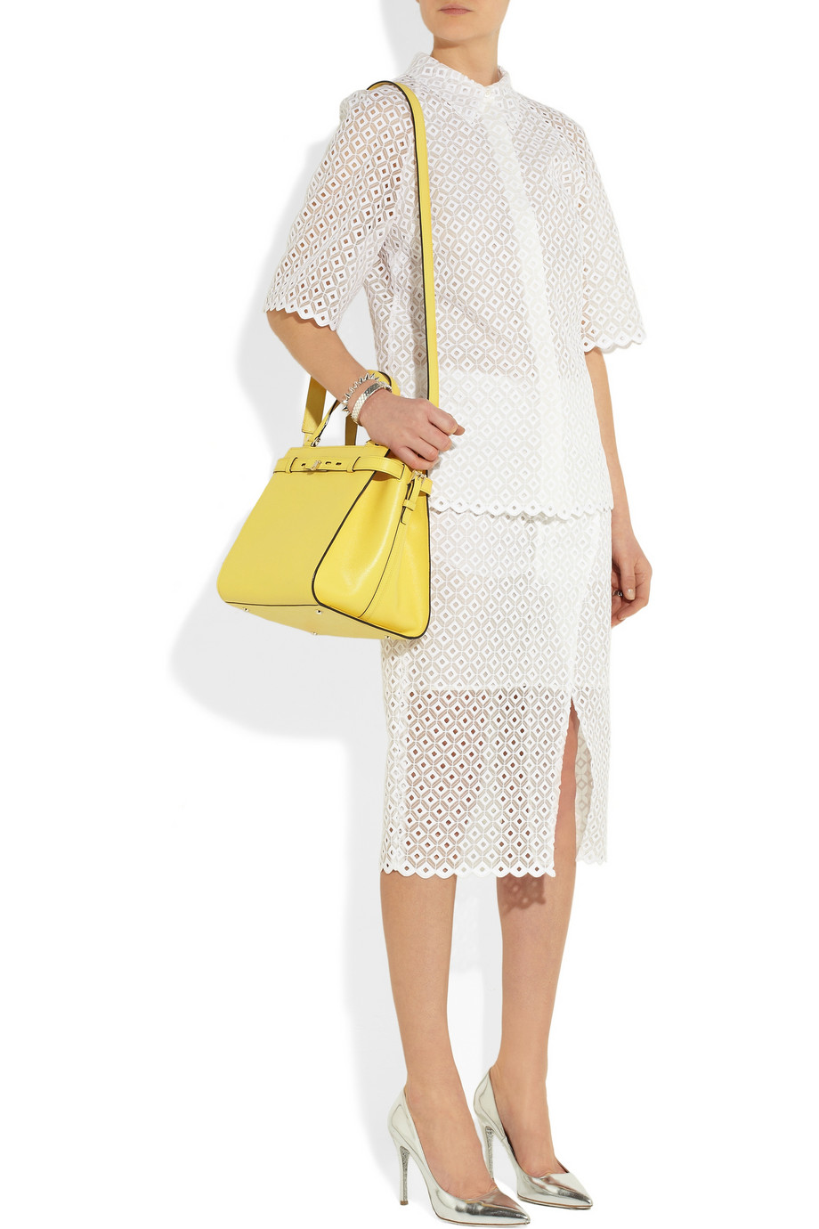 Valextra yellow b-cube textured leather bag
