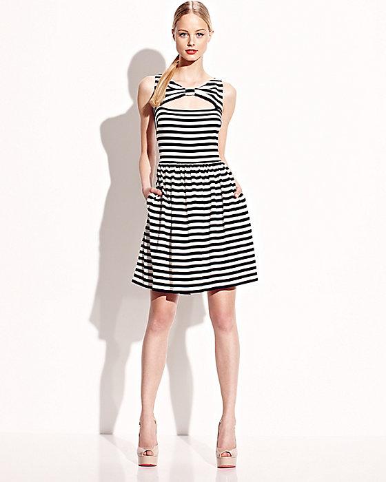 Betsey Johnson black white stripe knotted open-front sleeveless dress
