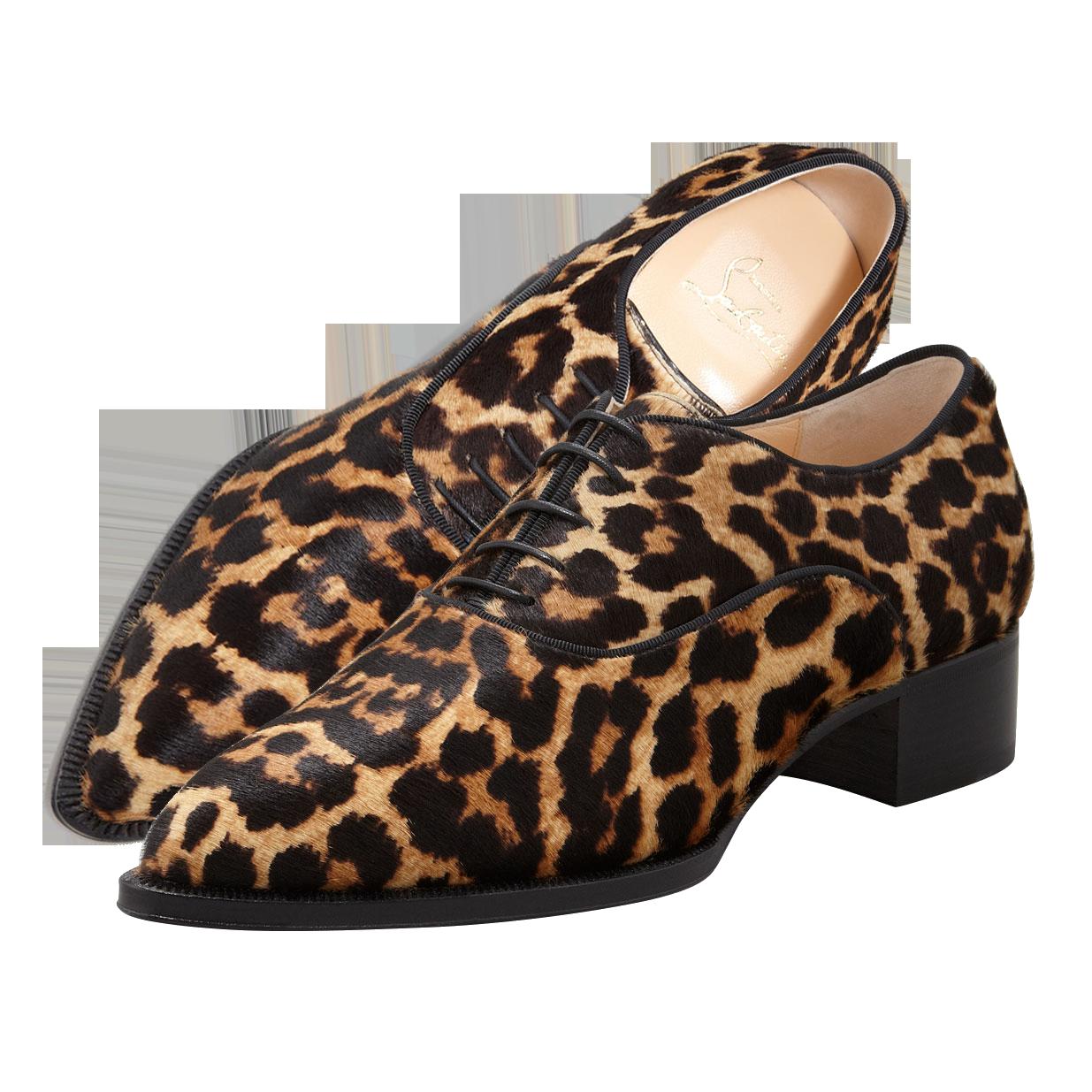 Christian Louboutin Zazou Pointed-Toe Leopard-Print Calf Hair Derby Flats