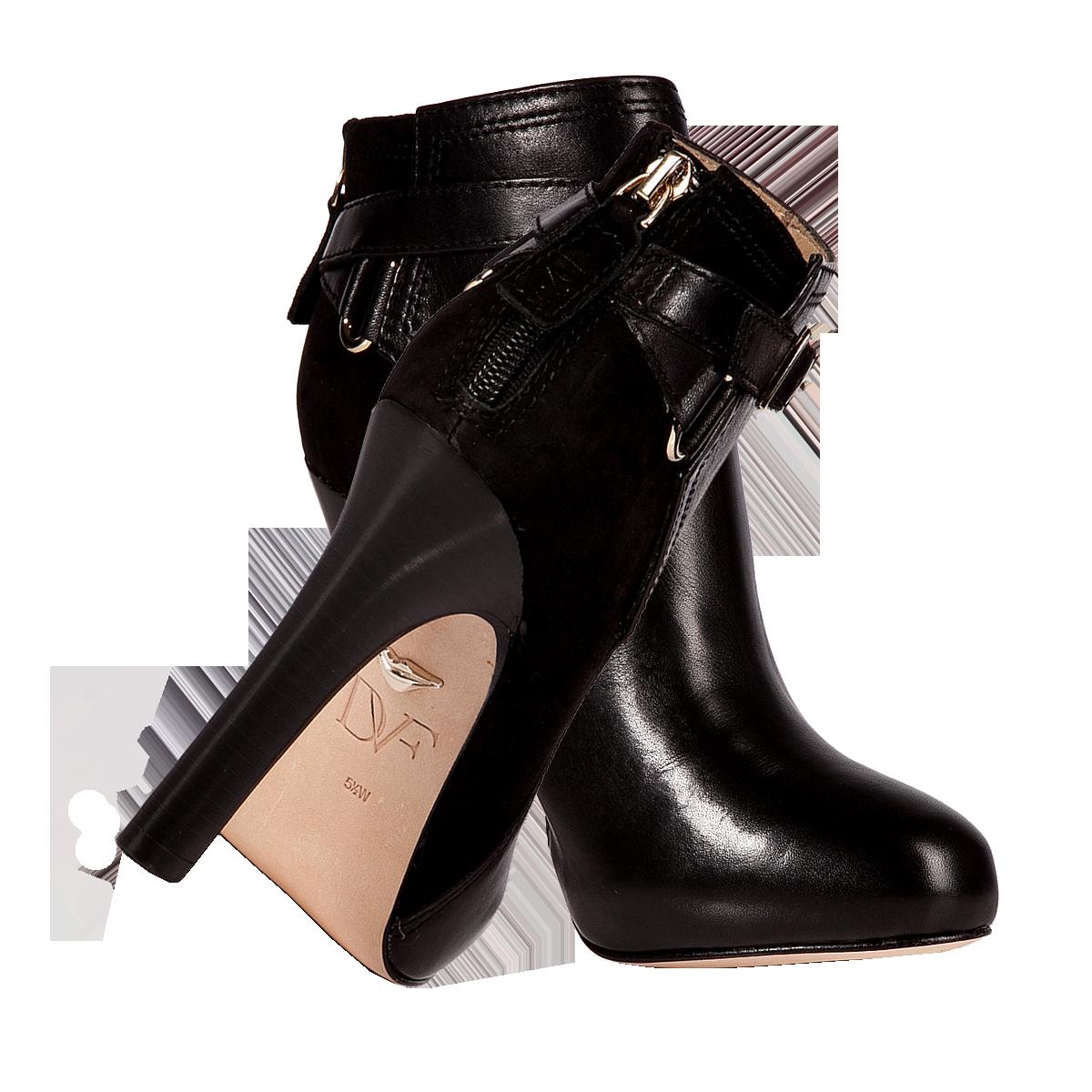 Diane Von Furstenberg black Leather Suede Charise Ankle Boots