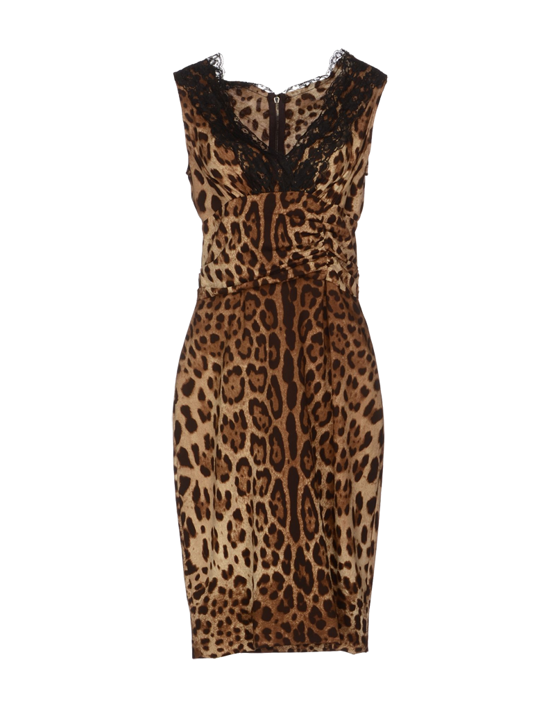 Dolce Gabbana knee length leopard print black lace-trimmed silk dress