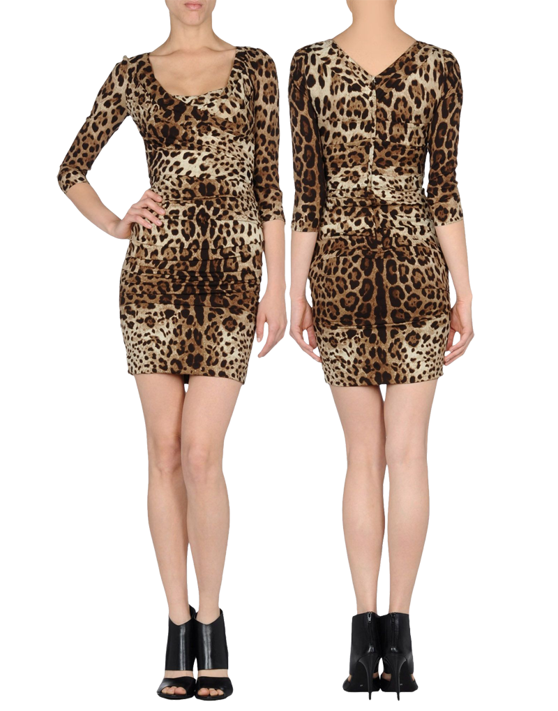 Dolce Gabbana runched long sleeved short leopard print dress worn