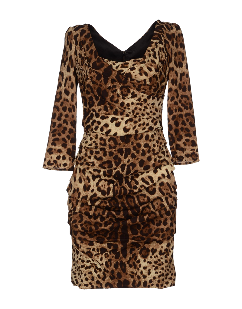 Dolce Gabbana runched long sleeved short leopard print dress