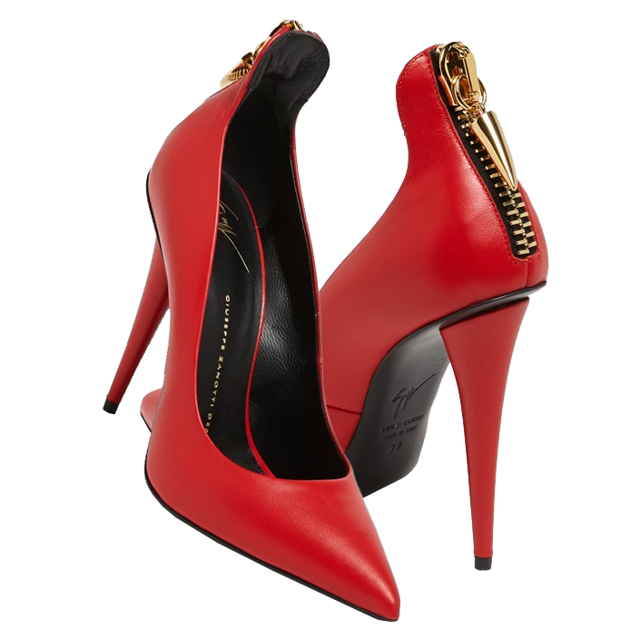 Paula Patton's red Giuseppe Zanotti red pointy toe pumps with gold back zipper