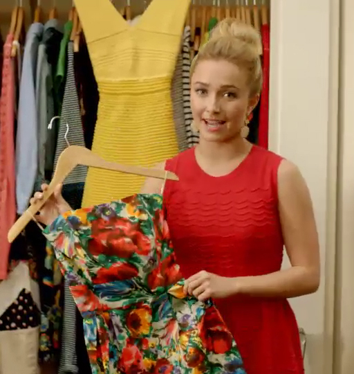 Hayden Panettiere holding up her Dolce Gabbana floral cocktail dress