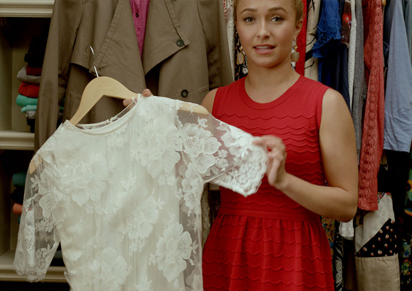 Hayden Panettiere holding up her Stella McCartney dress