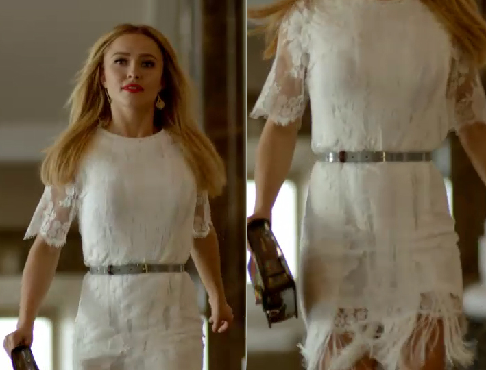 Hayden Panettiere wearing Stella McCartney Off White Fringed Floral Lace Dress