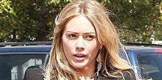 Hilary Duff blonde hair black blazer black top