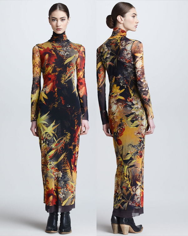 Jean Paul Gaultier Winter Garden-Print Turtleneck Maxi Dress