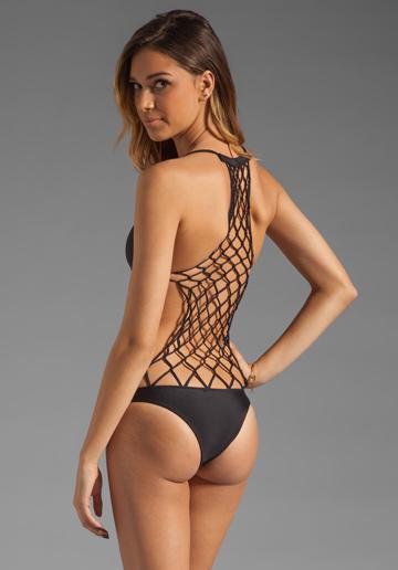Mikoh Swimwear Xavier one-piece crochet back bathing suit back side view