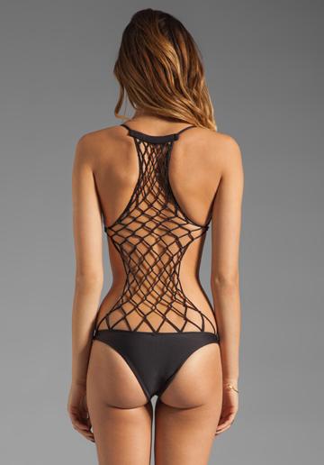 Mikoh Swimwear Xavier one-piece crochet back bathing suit back view
