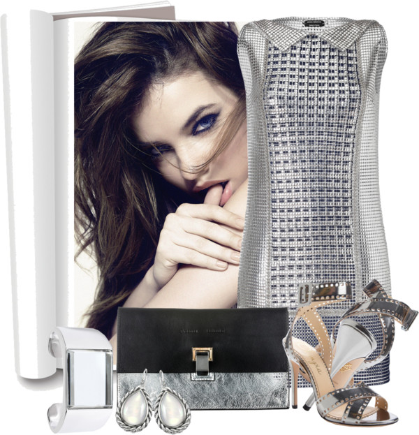 PACO RABANNE Chain Metal Shirt Style Short Dress Charlotte Olympia Take 110 Metallic-Leather Sandals David Yurman earrings Maison Martin Margiela bracelet