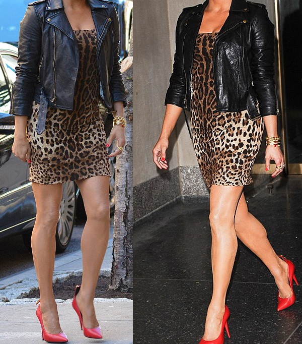 Paula Patton Dolce Gabbana skin tight leopard print dress red Giuseppe Zanotti pumps