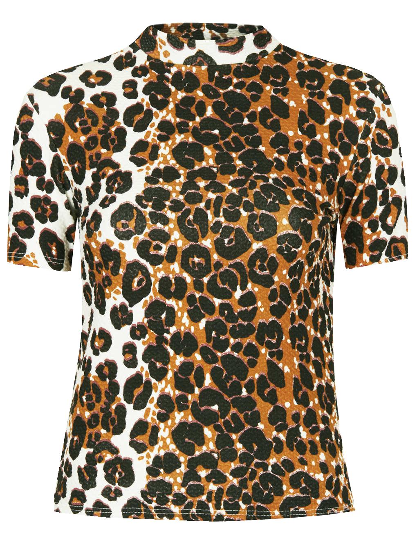 Topshop leopard print high neck top