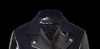 Victoria Beckham Denim navy blue black wool leather biker jacket