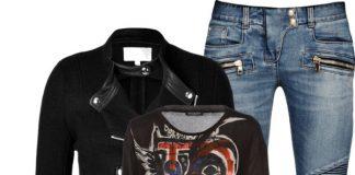 Balmain blue ribbed biker jeans Saint Laurent black leather Buckled Paris Boots Balmain t-shirt IRO Wool Clifden Jacket in Black