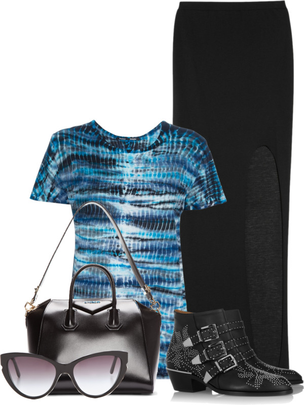 Black Helmut Lang skirt Proenza Schouler tie-dye t-shirt Givenchy black leather Antigona bag Chloe black leather studded ankle boots Stella McCartney sunglasses