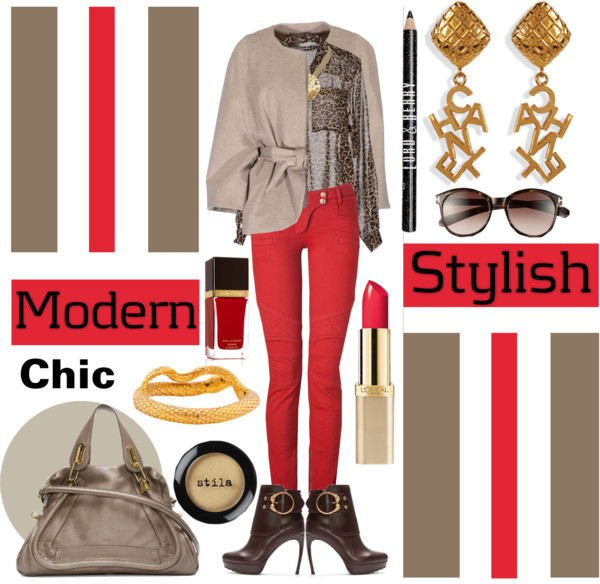 Chilli Peppers leopard print shirt Balmain red skinny jeans Alexander McQueen burgundy leather ankle boots Chloe dark grey paraty bag chanel earrings gold tone bracelet necklace