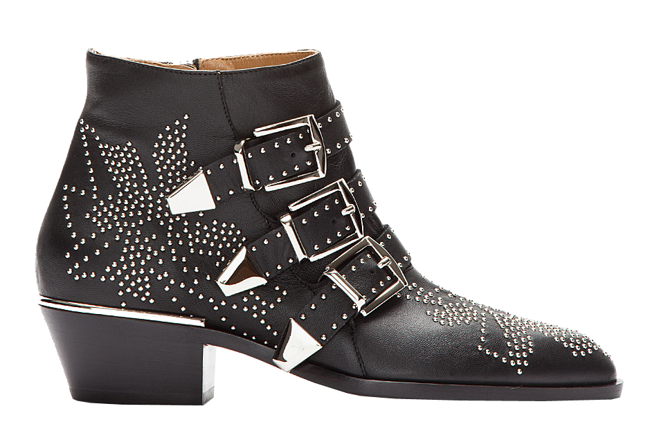 Chloe black leather silver-tone studded Susanna Suzanna ankle Boots
