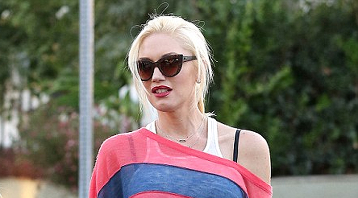 Gwen Stefani red navy striped sweater top