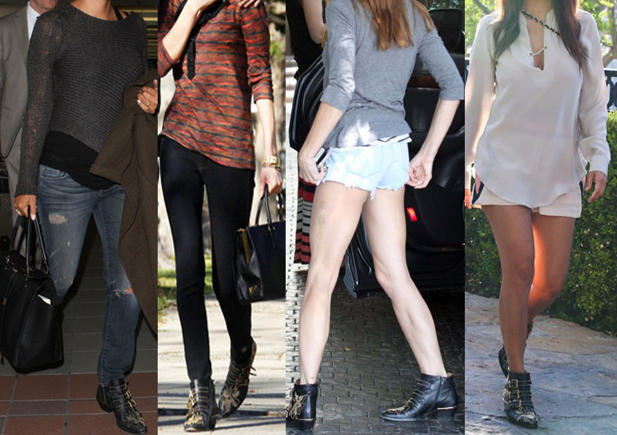 Halle Berry Kourtney Kardashian Diane Kruger Ashley Greene Chloe black leather gold tone studded Susanna boots