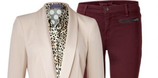 J Brand burgundy jeand Emanuel Ungaro leopard print polka dot shirt DKNY cream tuxedo Blazer Ralph Lauren Collection leather ankle boots Saint Laurent plum purple tote