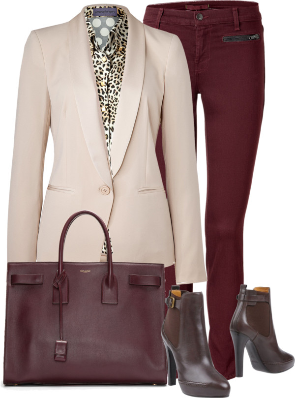 J Brand burgundy jeand Emanuel Ungaro leopard print polka dot shirt DKNY cream tuxedo Blazer Ralph Lauren Collection leather ankle boots Saint Laurent plum purple tote