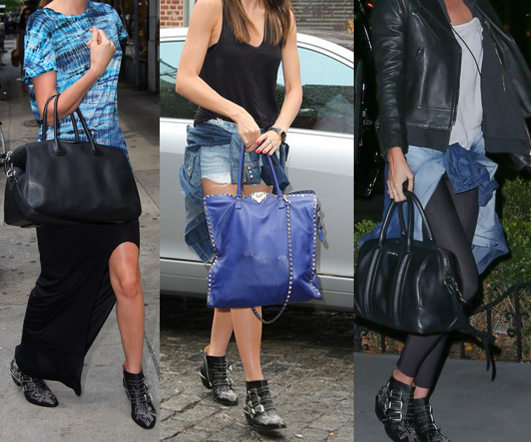 Miranda Kerr wearing Chloe black leather silver studded ankle boots