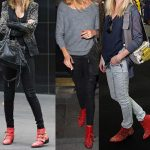 Nicole Richie Sienna Miller Kate Bosworth wearing Chloe red leather studded Suzanna boots