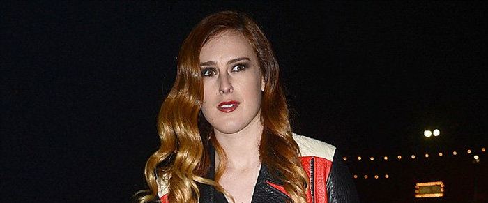 Rumer Willis Acne Studios Merci red black cream leather biker jacket