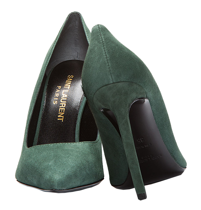 Saint Laurent green suede pointed toe pumps green shoes