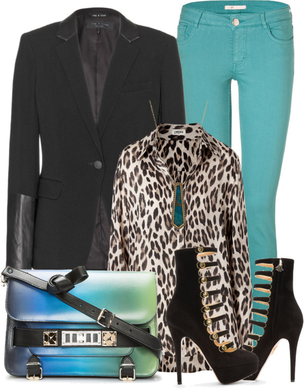 lagence leopard print shirt blouse rag bobe black blazer leather cuff MAJE turquoise skinny jeans Charlotte Olympia black suede heels gold metallic buttons Proenza Schouler bag